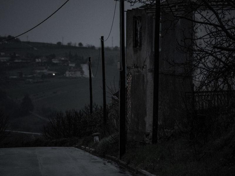 A broken house in darkness