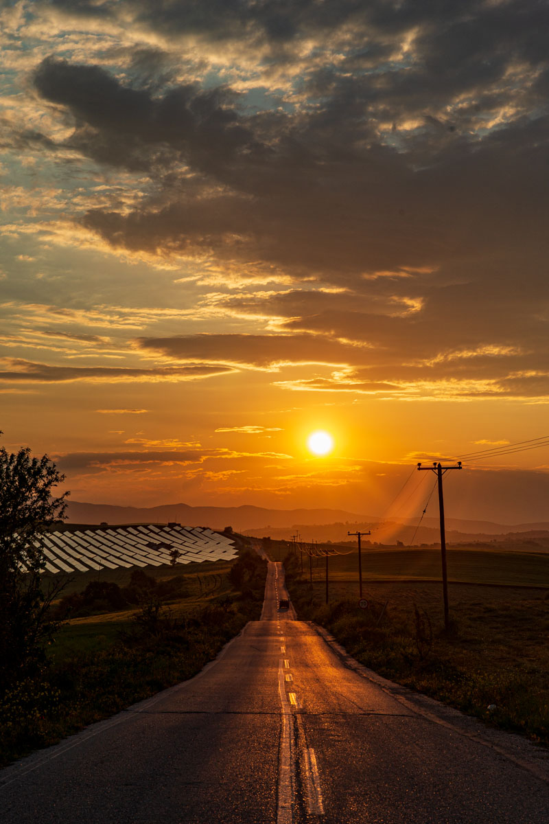 Sunset spring Solar panel Greece