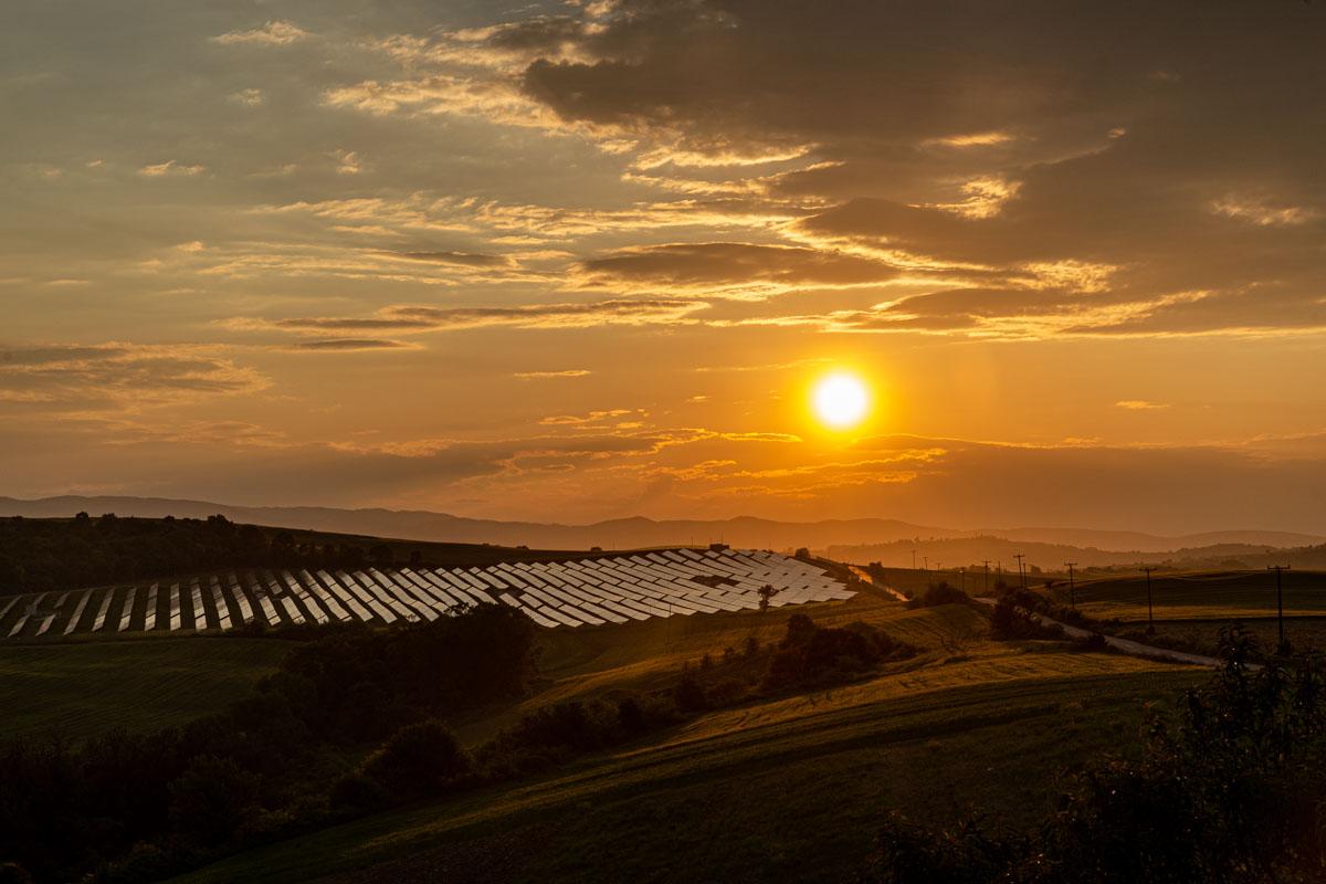 Sunset spring Solar panel