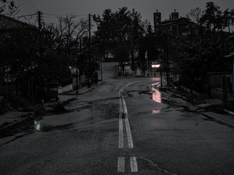 A rainy road to the church